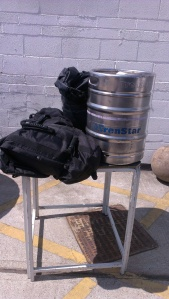 The bag peeping out behind the keg is 70kg!